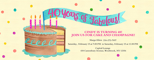 40 Years of Fabulous Invitation
