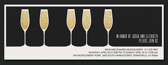 5 Glasses Black Invitation