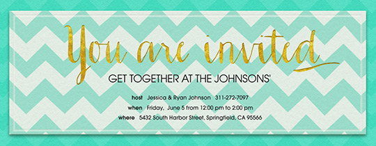 Aqua Chevron Invitation