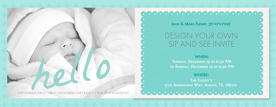 Aqua Hello Baby Invitation