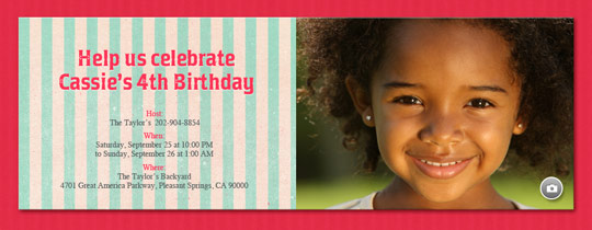Aqua Stripes Invitation