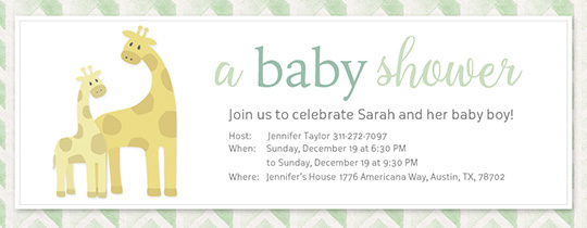 Baby Giraffe Shower Invitation