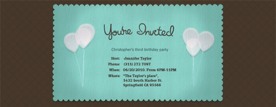 Balloons Postcard Invitation