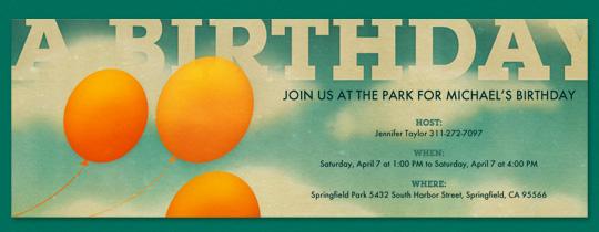 balloons, birthday, clouds, orange balloons, outdoor, park, sky