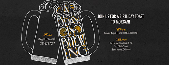Birthday Brewing Invitation