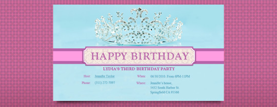 Birthday Tiara Invitation