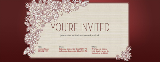 card, contemporary, floral, flower, flowers, flowery, leaves, letterpress, maroon, modern, red, spring, whimsical, you're invited