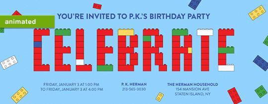 animated, legos, lego, celebrate, birthday, party, blocks