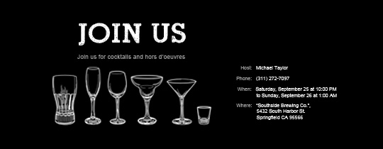 Cocktail Party free online invitations