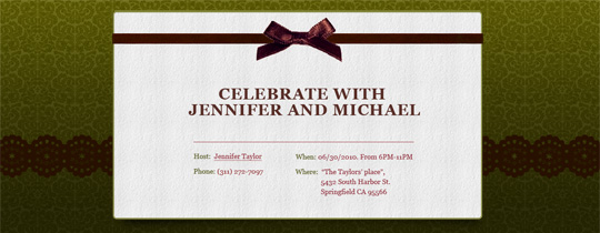 Chocolate Ribbon Invitation