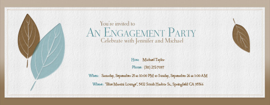 Engagement Leaves Invitation