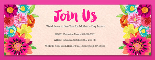 join us, flowers, floral, mom, mothers, mother's day, mothers day, pink, brunch, lunch,