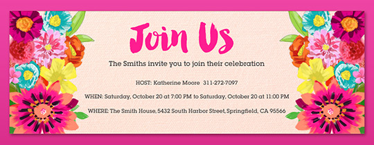 join us, flowers, floral, pink, brunch, lunch, celebration,