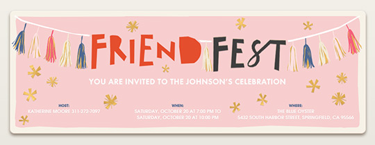 friends, fest, garland, stars, celebration, banner,