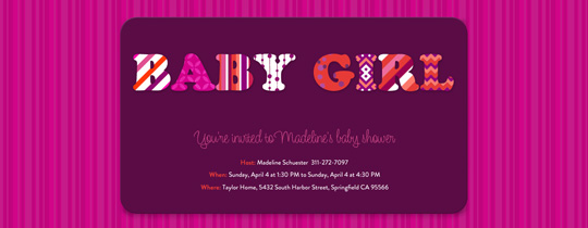 Girlie Patterns Invitation