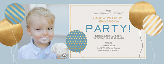 Golden Balloons Blue Invitation