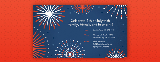 Graphic Fireworks Invitation