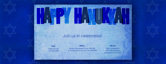 Hanukkah Blue Invitation