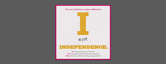 I Is for Independence Invitation