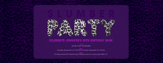 animal print, cheetah, girls, girly, leopard, party, purple, sleepover, slumber party