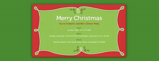 Merry Holly Invitation