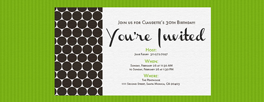 Modern Dots Green Invitation