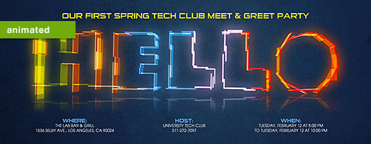Neon Hello Invitation