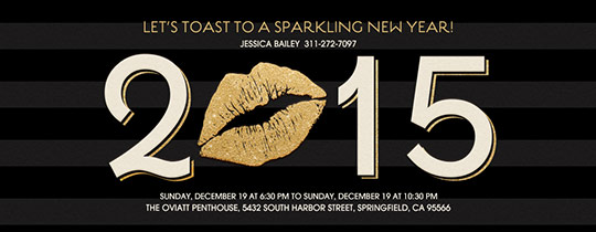 kiss, lips, lip, new years, new years eve, new years party, new year, new year's eve party, 2015, stripes, toast, gold, black