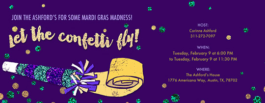 Noise Maker Mardi Gras Invitation