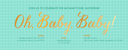 baby, baby shower, gold, oh baby,