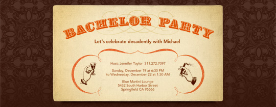 Old Timey Bachelor Invitation