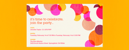 bubbles, circles, confetti, dots, fun, general, orange, paper, polka dots, you're invited