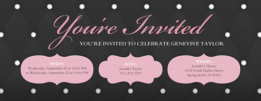 Paris, Black, Pink, Tufted, french, parisian, you're invited, dots, polka dots,