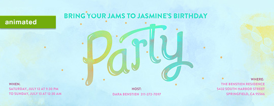 party, jams, birthday, confetti, animated, watercolor, rainbow, girls birthday,