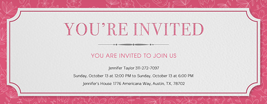 Pink Floral Print Invitation