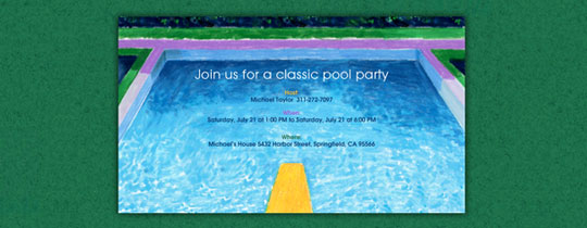 Pop Art Pool Invitation