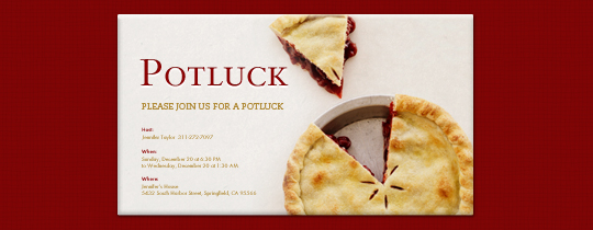 Potluck Pie Invitation