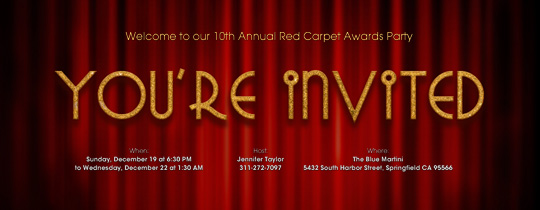 awards, emmy, golden globes, grammy, movie, oscar, red, theater, you're invited
