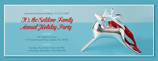 Silver Reindeer Invitation