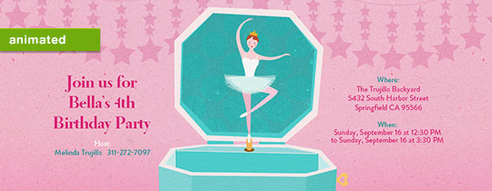 ballerina, music, jewelry box, princess, animated, stars, hearts, music box, girls birthday, music, dance, dance party, ballerinas,