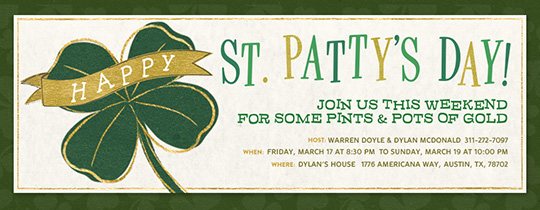 St. Patty's Clover Invitation
