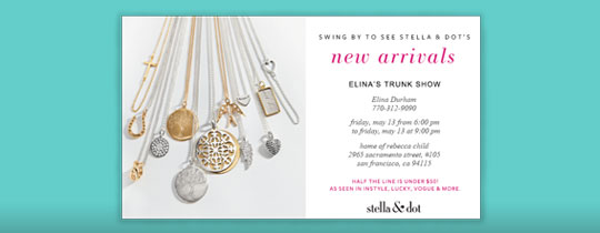 New arrivals invitation for Stella and dot invitation templates