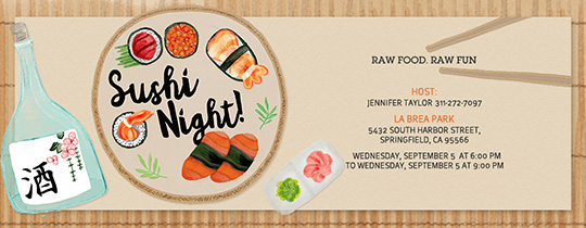 Sushi Night Invitation