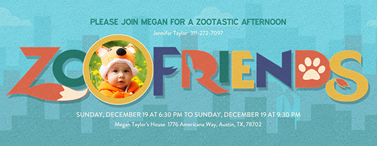 Zoo Friends Invitation