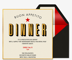 Buon Appetito Invitation  Free Dinner Invitations