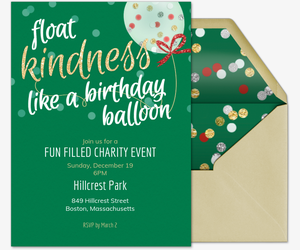 Kindness Balloon Holiday Invite Invitation