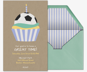 Soccer Cupcake Invitation