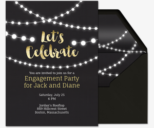 string lights invite invitation - Engagement Party Invite