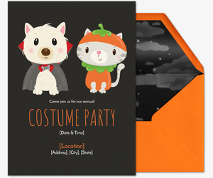Pet Costume Black Invitation