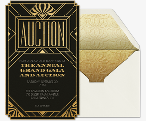 Auction Art Deco Invitation